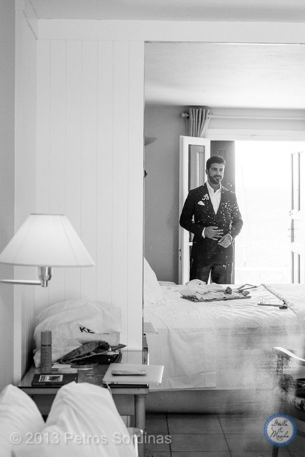 Groom getting ready   Mykonos Wedding @ Santa Marina by Stella and Moscha - Exclusive Greek Island Weddings   Photo Petros Sordinas