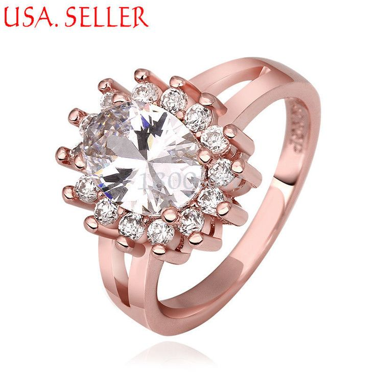 18K Rose Gold Filled Clear Crystal Inlay 3-D Sun Shaped Split Ring Jewelry E332