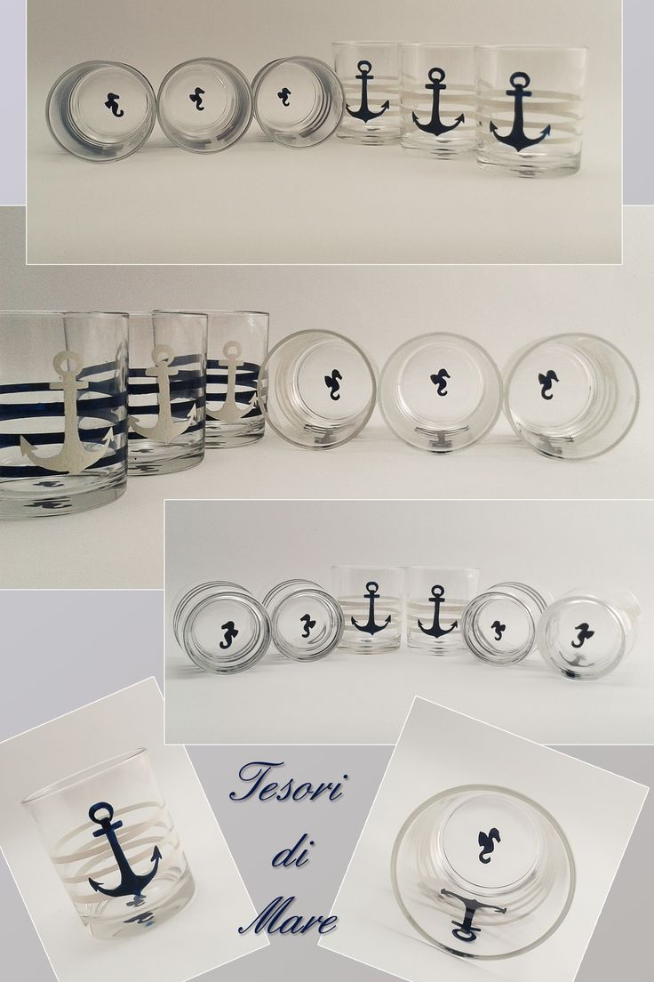 € 45.00 on www.misshobby.com and DaWanda. Set of 6 glasses, hand painted. blue anchor with white stripes and white anchor with blue stripes.Elegant seahorse on the buttom.