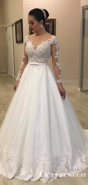 Elegant A-Line Round Neck Long Sleeve White Lace Wedding Dresses, TYP1948 Elegant A-Line Round Neck Long Sleeve White Lace Wedding Dresses, TYP1948