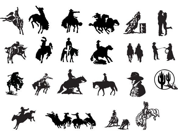 Xoo plate 18 western country cowboy vector silhouettes for Cowboy silhouette tattoo