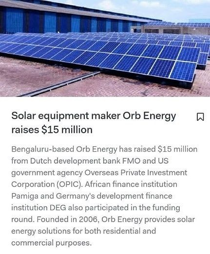 #Solar equipment maker Orb Energy raises $15 million  TYPE YES  if you agree & TAG friends of yours who need to be inspired.  Follow  @powerglobalsolar for daily info on the going green  Follow  @powerglobalsolar for daily info on the going green  Credit: @appsaddaa - The goal of this account is to help you learn more about how the world needs to move to sustainable energy. Everyday we are posting or reposting thought leaders quotes and ideas to educate and inspire everyone who comes across…