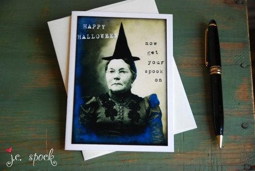 Halloween Card: Vintage Witch Note Card - 4x5.5 blank greeting card, Mixed Media Art, Folk Art, halloween art -  black, sepia,. $3.75, via Etsy.: Halloween Cards, Witch Note, Note Cards, Greeting Card, Vintage Witch