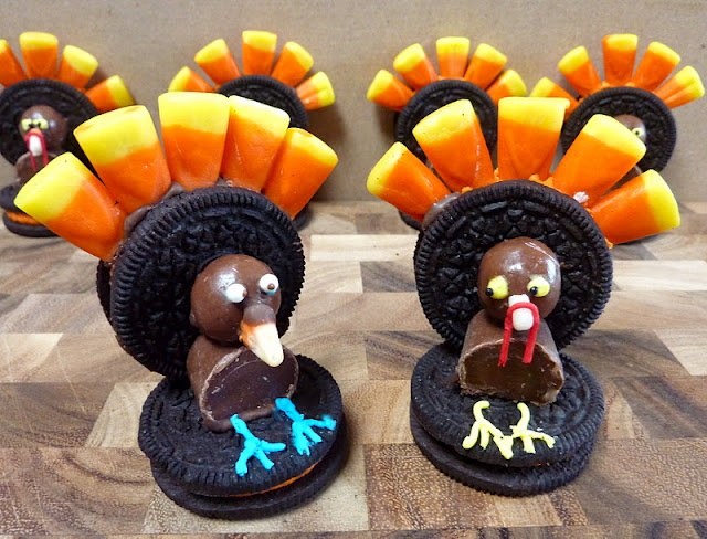 Oreo Turkeys  My daughter makes these every Thanksgiving.  They are so cute as a place setting and also delicious.