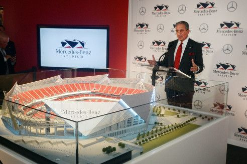 AUGUST 24, 2015 ATLANTA Arthur Blank reveals the stadium name during the press conference. Atlanta Falcons team owner Arthur Blank and Stephen Cannon, president and CEO of MBUSA, hold a press conference announcing a deal for the naming rights for the New Falcons Stadium, Monday, August 24, 2015. The press conference was also attended by Georgia Governor Nathan Deal and Atlanta Mayor Kasim Reed. The agreement, which continues through 2042, includes official naming rights and other…