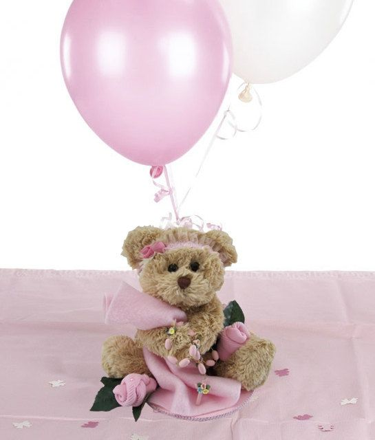 Baptism Centerpieces For Girls - Teddy Bear with Porcelain Rosary plus Personalized Teddy Bear and Cross Table Sprinkles - Pink