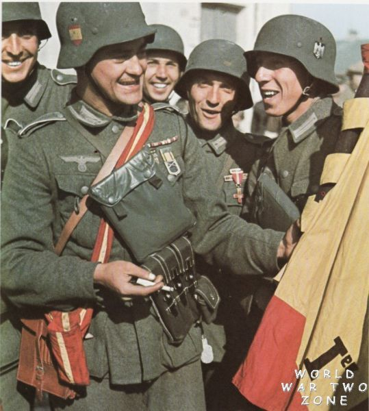 Excellent color photo of men of the Blue Division (Spanish: División #Azul, German: #Blaue #Division), or 250. Infanterie-Division in the German Army, a unit of Spanish volunteers that served in the German Army on the Eastern Front during WW2.