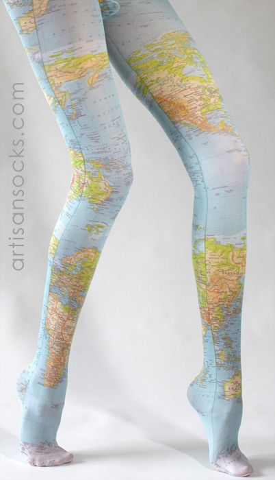 Map of the World Tights - Map Tights as seen on Pinterest! from Artisan Socks www.artisansocks.com