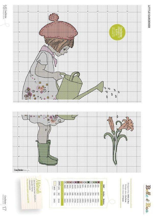 0 point de croix grille et couleurs de fils petite fille et son arrosoir, belle & boo