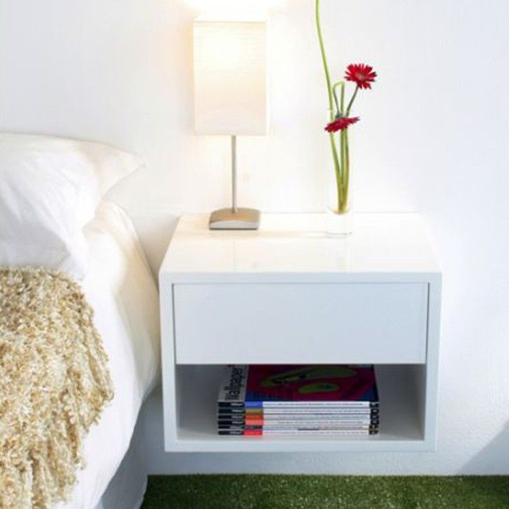 White Floating Bedside Table Interior