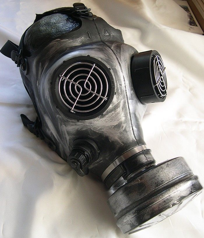 STEAMPUNK GAS MASK - Distressed Apocalyptic, Futuristic Full Face Survival Mask with Filter-Silver/Pewter. $49.50, via Etsy.