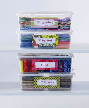 Sort your precut fabrics in clear-plastic storage boxes so you can always find the right size you need. These boxes stack easier so you can hide them under a bed or in a closet. Label the boxes for true efficiency.