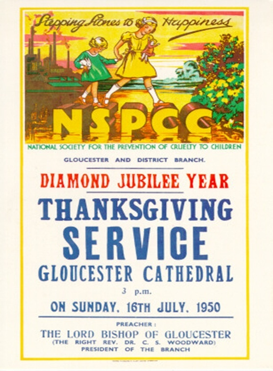 NSPCC poster from 1950 for a local Thanksgiving Service.