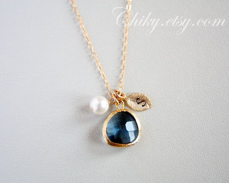Initial necklace, leaf necklace, stone in bezel and pearl necklace, blue glass stone, GOLD FILLED, mothers day gifts, family necklace. $32.00, via Etsy.Glasses Stones, 32 00, Pearls Necklaces, Necklaces Stones, Families Necklaces, Necklaces Leaf, Initials Necklaces, 3200, Leaf Necklaces