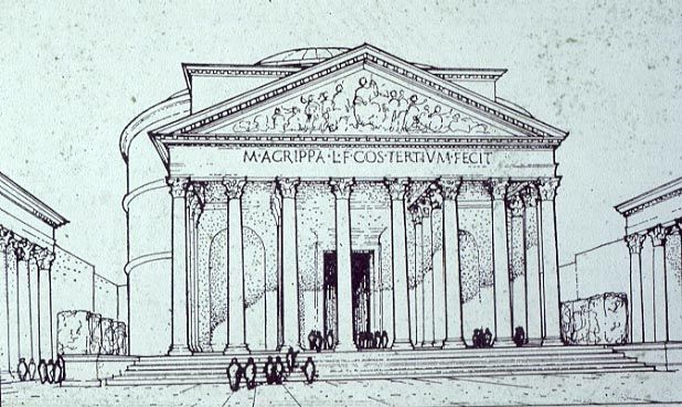 Roman Architecture Drawing reconstruction drawing of the exterior of the pantheon
