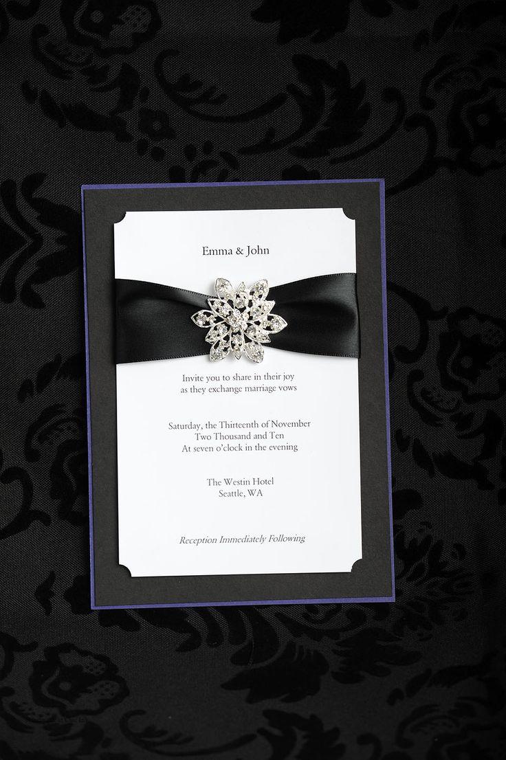 Snowflake rhinestone on custom wedding invitation 35