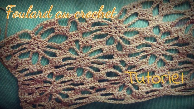 Foulard au crochet tutoriel.Scarf tutorial hook.gancio esercitazione Sciarpa