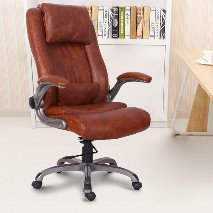 High Back Leather Office Chair Thick Padding Computer Desk Chair