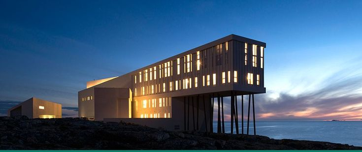 Fogo Island Inn off the coast of Newfoundland. Every room faces the Atlantic, perched on the rocks at the edge of the world. Bucket List.