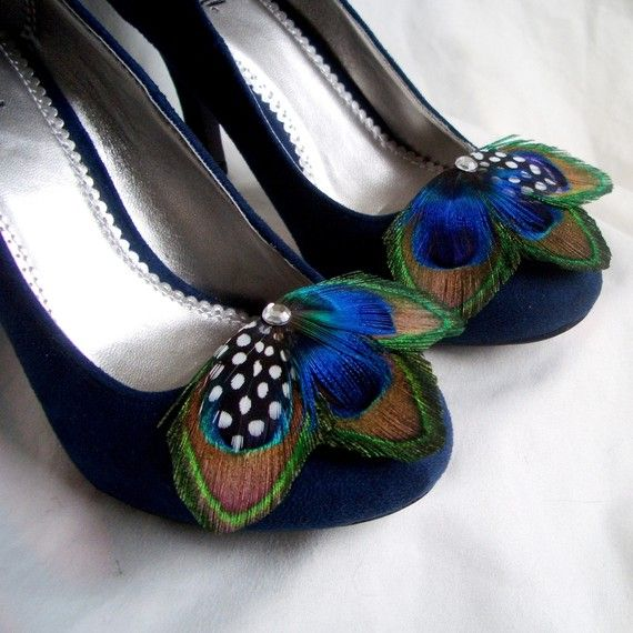 Can I wear these on my shoes for your wedding? I love peacock feathers!      MOLLY Peacock Shoe Clips with turquoise by TheHeadbandShoppe, $42.00