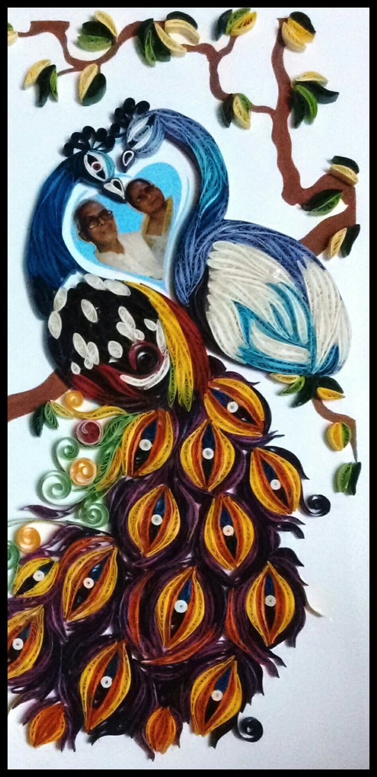Customised quilling peacock