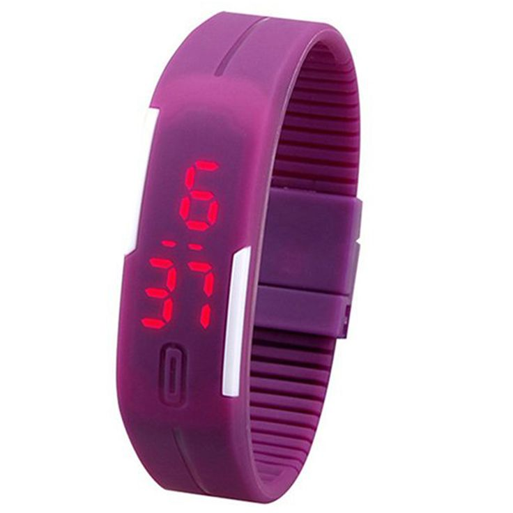 >> Click to Buy << Men's Women's Silicone Red LED Touch Digital Wrist Watch Bracelet Purple #Affiliate