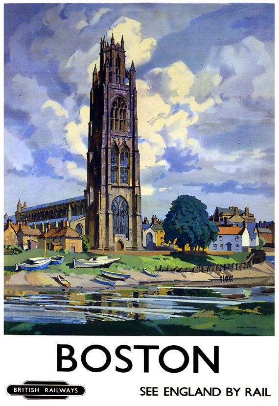 Art Ad Boston British Railways Train Rail Travel Poster Print in Art, Prints, Contemporary (1980-Now) | eBay