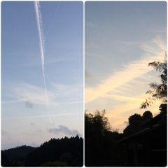 空を見上げると飛行機雲が三箇所夕焼け空も神秘的な感じですそれにしても阿蘇高森は夕方は冷えますなー tags[福岡県]