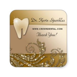 Dentist Sticker Label Tooth Logo Gold Leaves