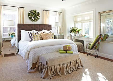 Great bench, throw pillows & positioning of bed between windows