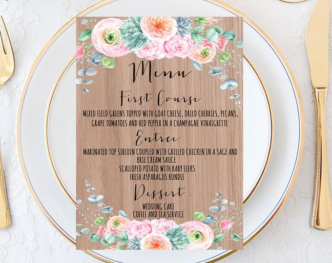 Imprimable de mariage menu, menu de mariage, menu de mariage Succulent, menu de mariage rustique, menu de mariage Floral, menu de mariage, menu de mariage désert