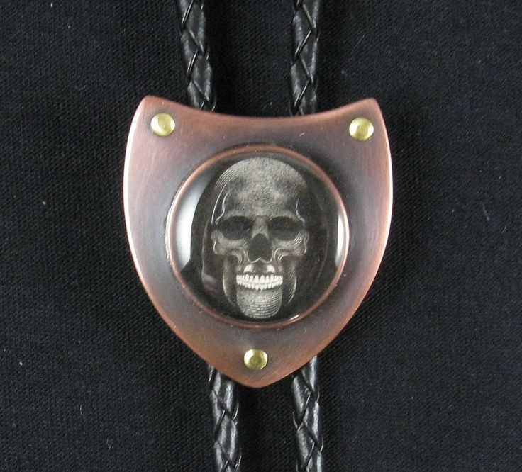 Bolo tie, Skull shield, copper and brass 002 by crquack on Etsy