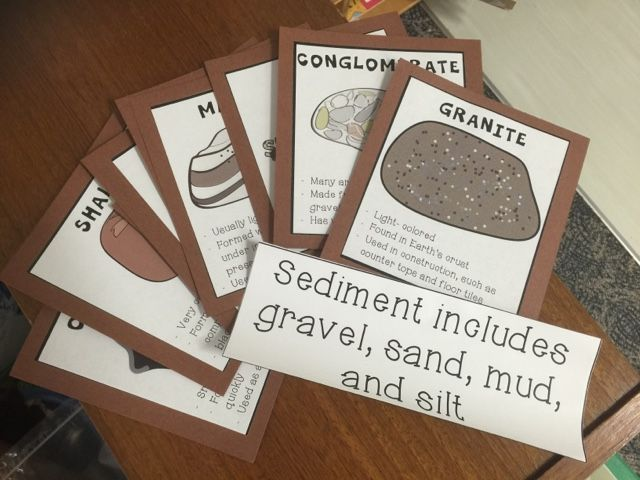 """Example cards for sedimentary, igneous, and metamorphic rocks that I'll be using during my first grade """"All About Rocks"""" unit in February. Little Owl's Teacher Treats...: Back to First Grade: Penguins and Polar Bears and Reindeer, Oh My!"""