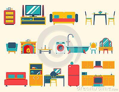 Furniture House Interior Icons and Symbols Set