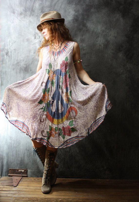 vintage dress 1980s hippie bohemian india thin rayon