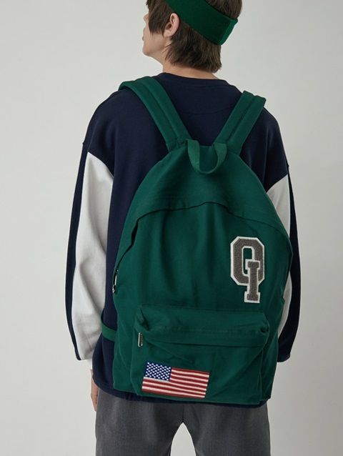 W CONCEPT : W컨셉 - [5252 by o!oi:오이오이 바이 오아이오아이] LOGO VINTAGE BACKPACK_green