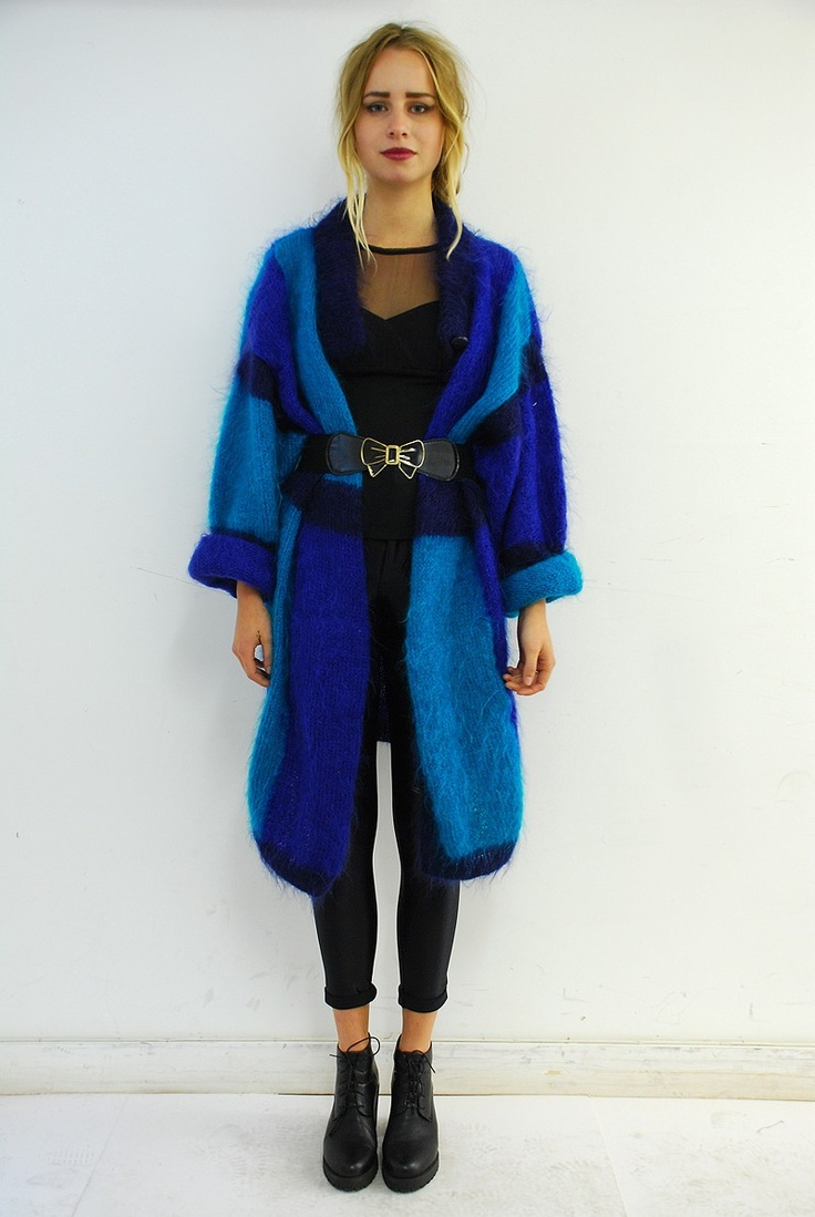 Retro Patchwork Blue Mohair Cardigan.  Click to buy!