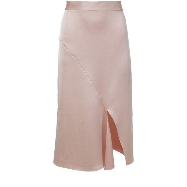 Tibi Celestia Satin Draped Pencil Skirt (5.346.325 IDR) ❤ liked on Polyvore featuring skirts, pencil skirt, side slit skirt, tibi, brown skirt and draped skirt