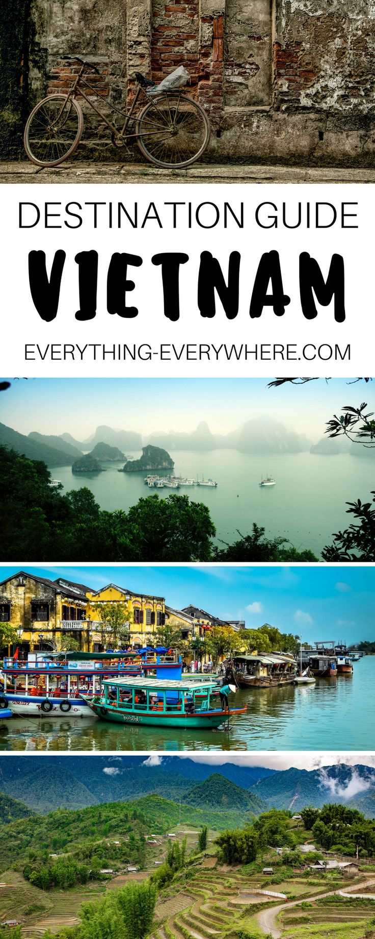 The ultimate travel guide to Vietnam including top destinations and things to do in Halong Bay, Hue, Hoi An, Saigon and more + best Vietnamese food and cuisine and other practical tips for your trip. | Everything Everywhere Travel Blog#Travel #Vietnam