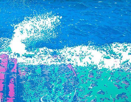 Mořské vlny originální ruční sítotisková malba