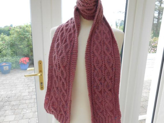 Cable knitted Scarf. Women's knit Scarf. Handmade by AluraCrafts