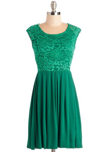 Bold to Behold Dress - Green, Solid, Lace, Casual, A-line, Cap Sleeves, Spring, Knit, Lace, Mid-length