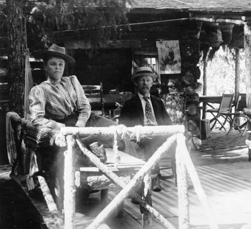 W.F. and Mary Byers Robinson on the porch of the Robinson home in Ferndale, CO circa 1890-1900.  From the Denver Library Western History Collection