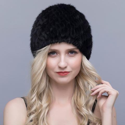 89267cd714 QIUSIDU Real Mink Fur Hat Women's Knitted Winter Warm New Cap 2017 ...