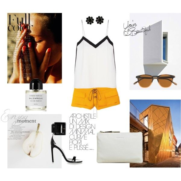 """""""hit by heat"""" by izabelmaz on Polyvore _____ TIBI Color Block Silk Cami, Emilio Pucci shorts, Gucci Buckled patent-leather sandals and Jil Sander Women's Deerskin Fine Envelope Bag (perfect outfit for hot summer days)"""