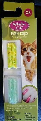 Whisker City Kitty Caps Cat Nail Caps Seafoam & Yellow XSmall Cats under 5lbs