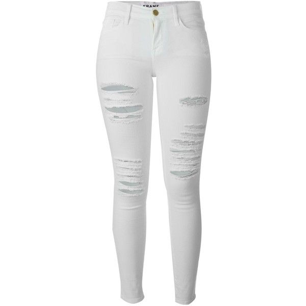Frame Denim distressed skinny jeans (370 AUD) ❤ liked on Polyvore