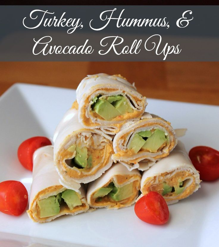 Low-carb Turkey, Hummus, and Avocado Roll Ups. Great for lunch or a snack on those hot summer days.