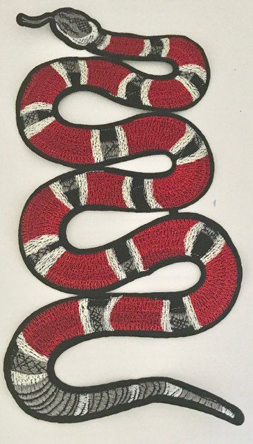 """Snake, Embroidered Iron-on  5.5"""" x 10.5"""""""