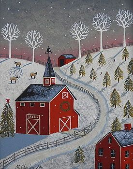 Little Christmas Tree Farm Folk Art Painting by Mary Charles Prints available at Fine Art America